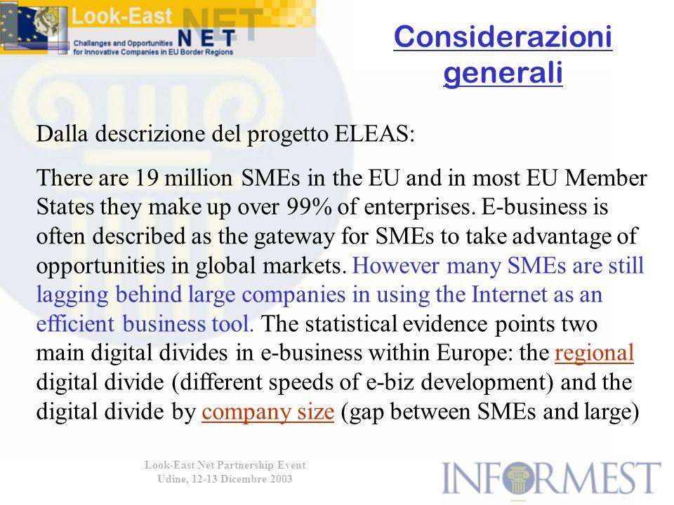 Considerazioni generali Look-East Net Partnership Event Udine, 12-13 Dicembre 2003 Dalla descrizione del progetto ELEAS: There are 19 million SMEs in the EU and in most EU Member States they make up over 99% of enterprises.