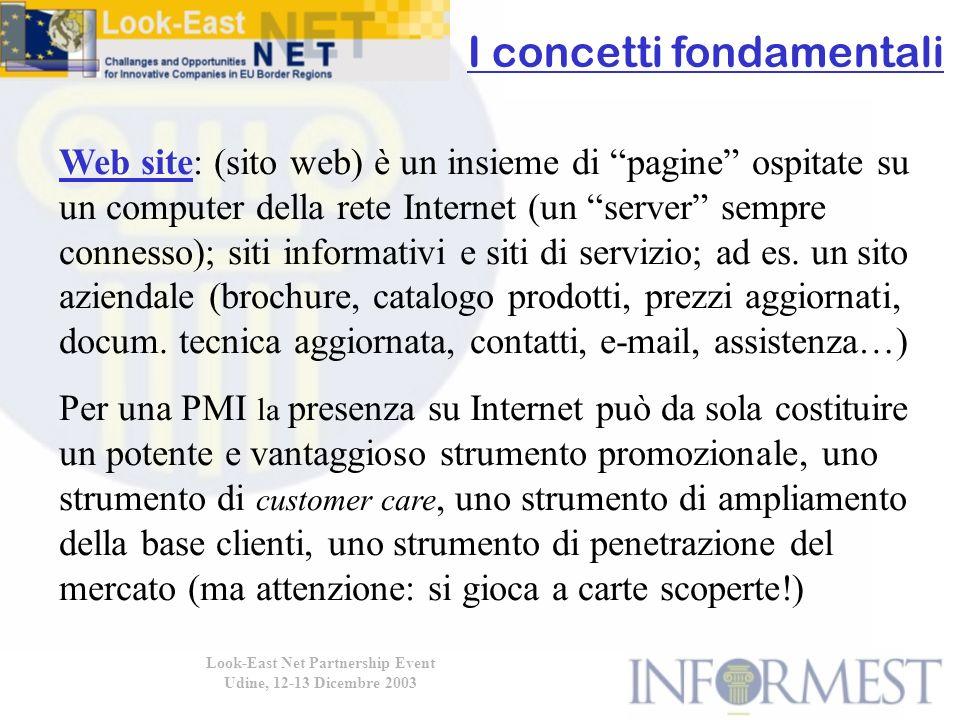 Look-East Net Partnership Event Udine, 12-13 Dicembre 2003 Web site: (sito web) è un insieme di pagine ospitate su un computer della rete Internet (un server sempre connesso); siti informativi e siti di servizio; ad es.