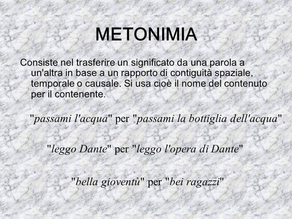METONIMIA Consiste nel trasferire un significato da una parola a un'altra in base a un rapporto di contiguità spaziale, temporale o causale. Si usa ci
