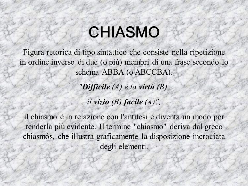 CHIASMO Figura retorica di tipo sintattico che consiste nella ripetizione in ordine inverso di due (o più) membri di una frase secondo lo schema ABBA