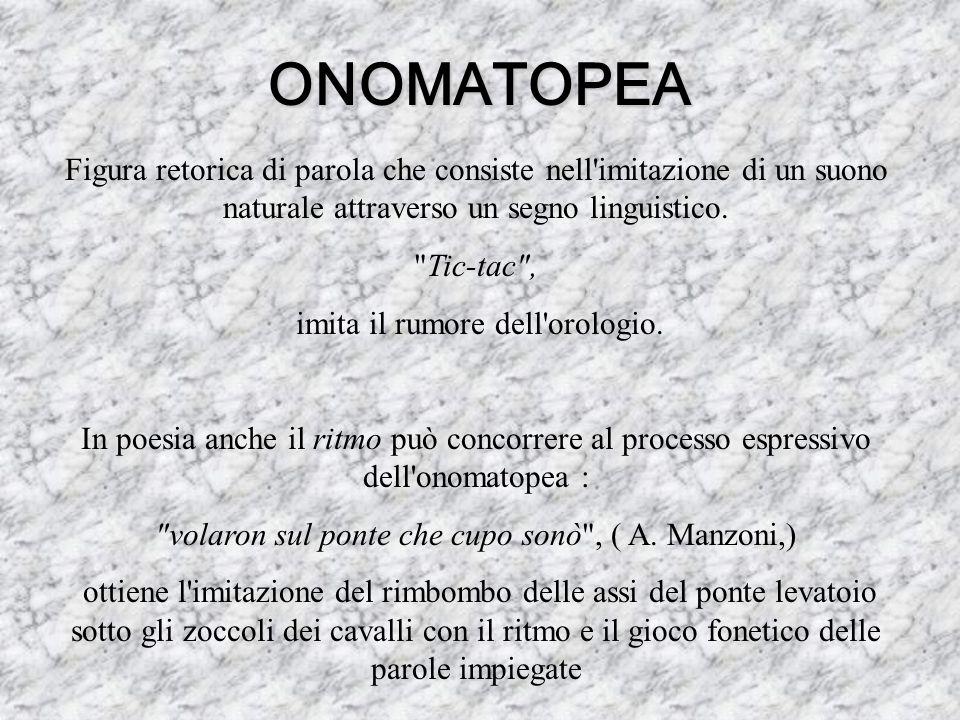 ONOMATOPEA Figura retorica di parola che consiste nell'imitazione di un suono naturale attraverso un segno linguistico.