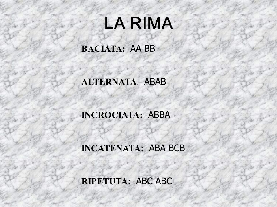 LA RIMA BACIATA: AA BB ALTERNATA: ABAB INCROCIATA: ABBA INCATENATA: ABA BCB RIPETUTA: ABC ABC