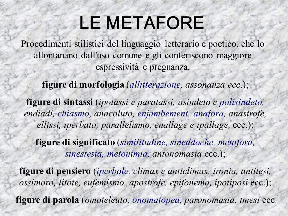 LE METAFORE Procedimenti stilistici del linguaggio letterario e poetico, che lo allontanano dall'uso comune e gli conferiscono maggiore espressività e