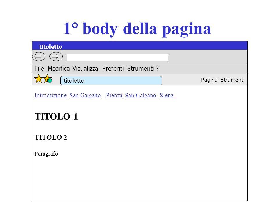 1° body della pagina Introduzione San Galgano Pienza San Galgano Siena TITOLO 1 TITOLO 2 Paragrafo titoletto File Modifica Visualizza Preferiti Strume