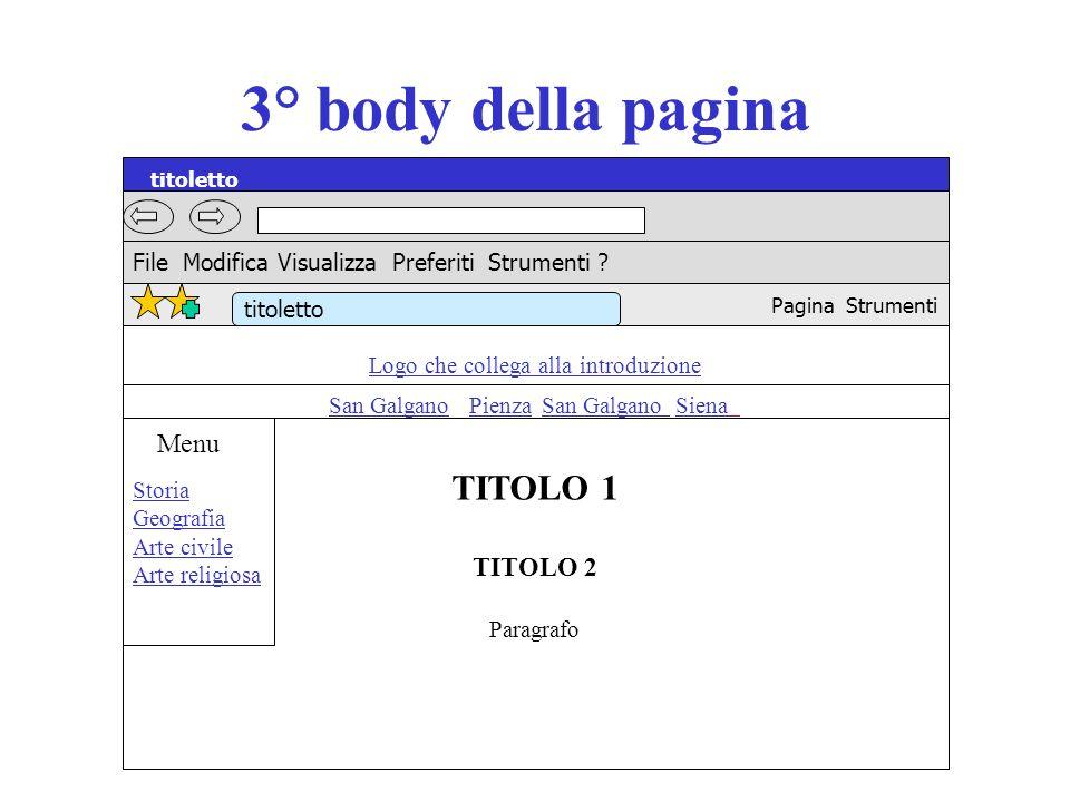 3° body della pagina Logo che collega alla introduzione San Galgano Pienza San Galgano Siena TITOLO 1 TITOLO 2 Paragrafo titoletto File Modifica Visua
