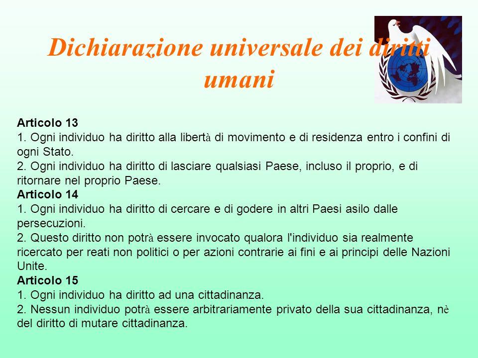 Dichiarazione universale dei diritti umani Articolo 13 1. Ogni individuo ha diritto alla libert à di movimento e di residenza entro i confini di ogni