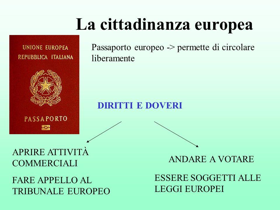 La cittadinanza europea Passaporto europeo -> permette di circolare liberamente ANDARE A VOTARE APRIRE ATTIVITÀ COMMERCIALI FARE APPELLO AL TRIBUNALE