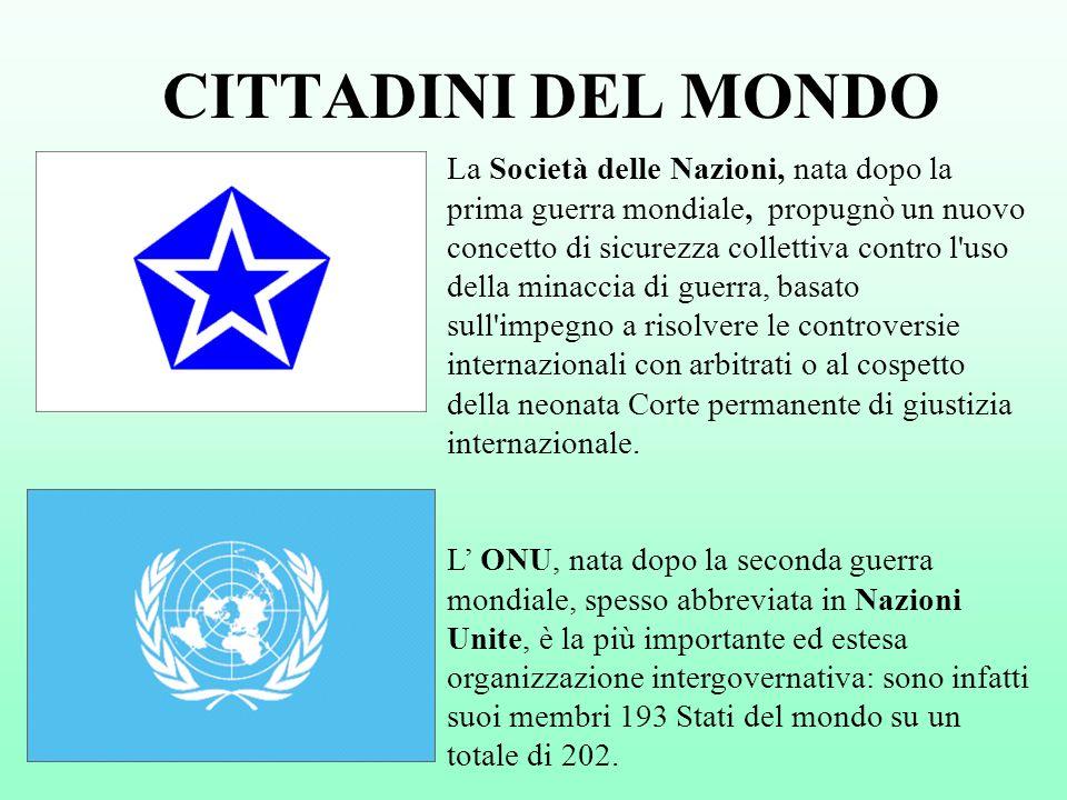 CITTADINI DEL MONDO La Società delle Nazioni, nata dopo la prima guerra mondiale, propugnò un nuovo concetto di sicurezza collettiva contro l'uso dell