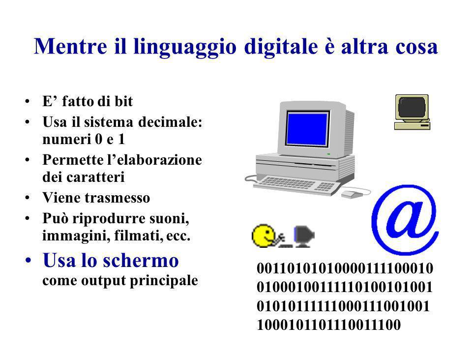 Mentre il linguaggio digitale è altra cosa E fatto di bit Usa il sistema decimale: numeri 0 e 1 Permette lelaborazione dei caratteri Viene trasmesso P
