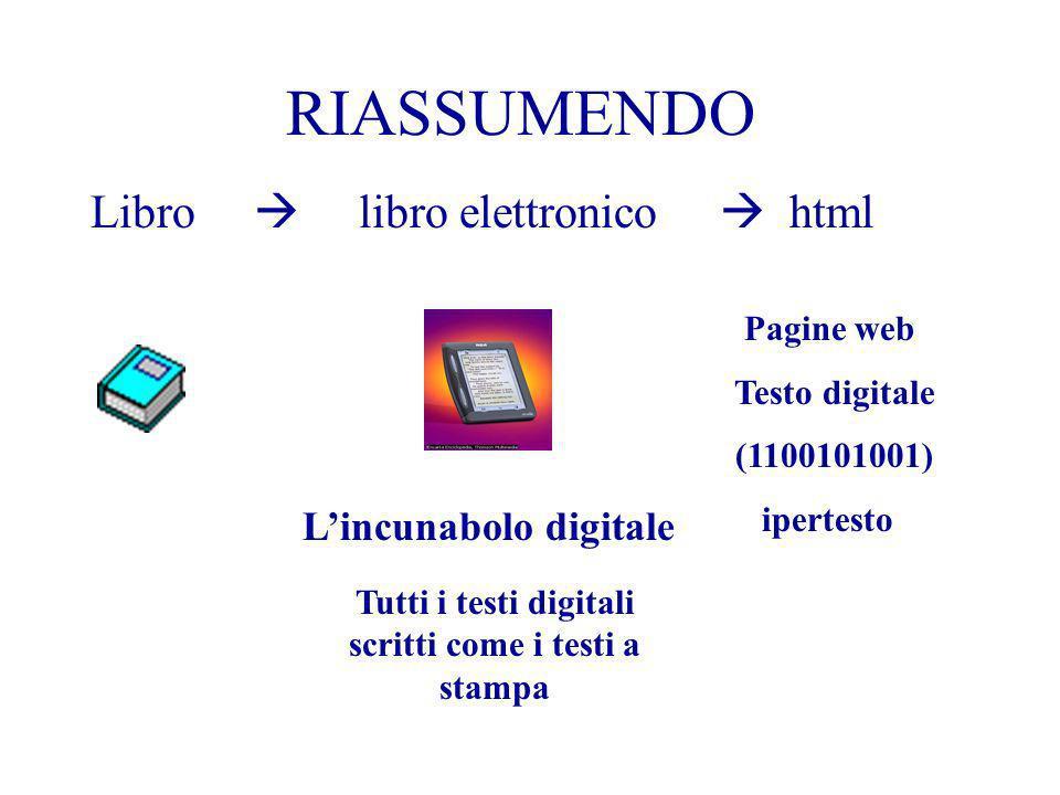RIASSUMENDO Libro libro elettronico html Pagine web Testo digitale (1100101001) ipertesto Lincunabolo digitale Tutti i testi digitali scritti come i t