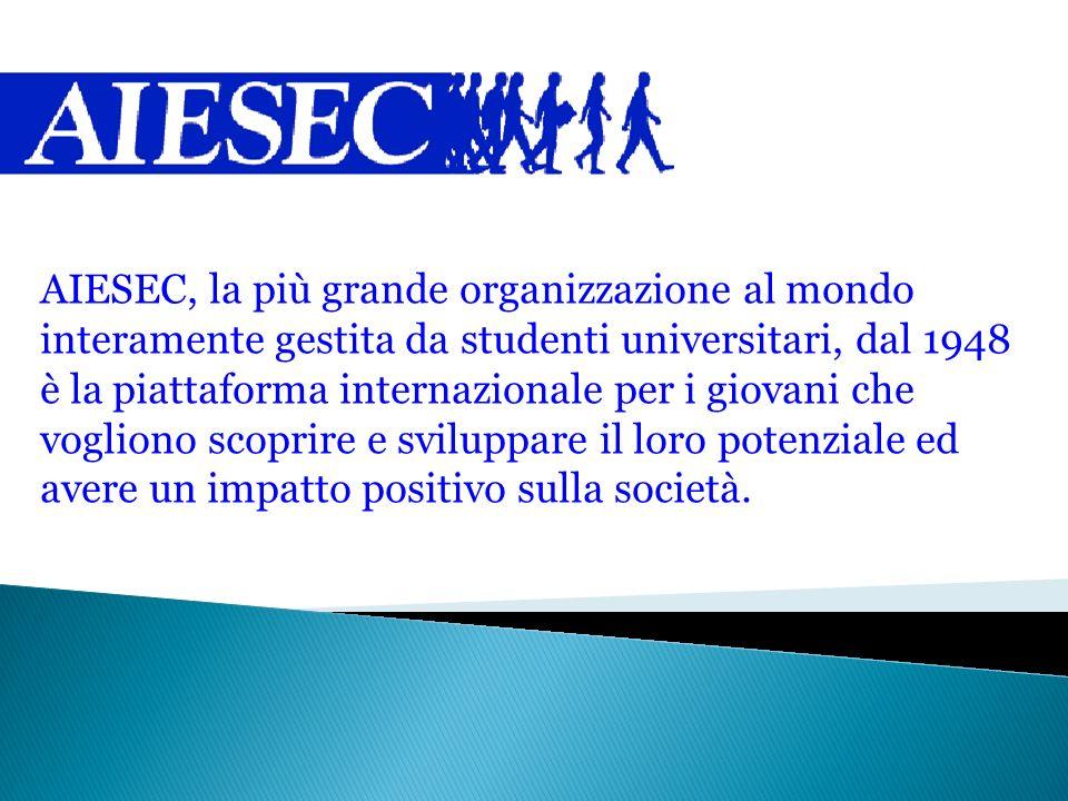 AIESEC, la più grande organizzazione al mondo interamente gestita da studenti universitari, dal 1948 è la piattaforma internazionale per i giovani che