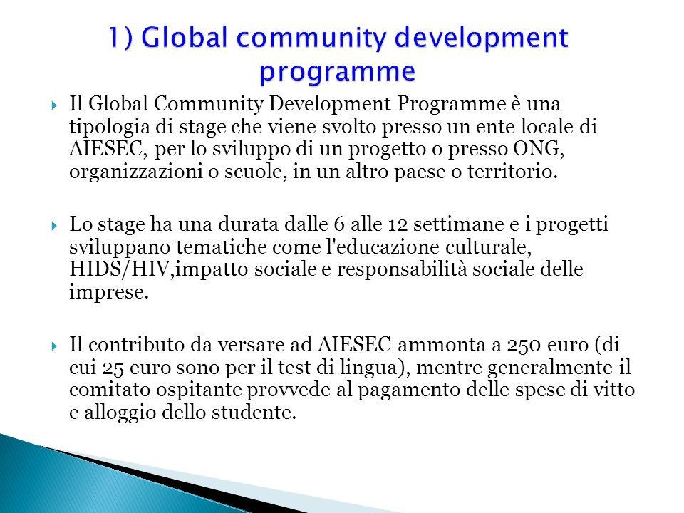 Il Global Community Development Programme è una tipologia di stage che viene svolto presso un ente locale di AIESEC, per lo sviluppo di un progetto o