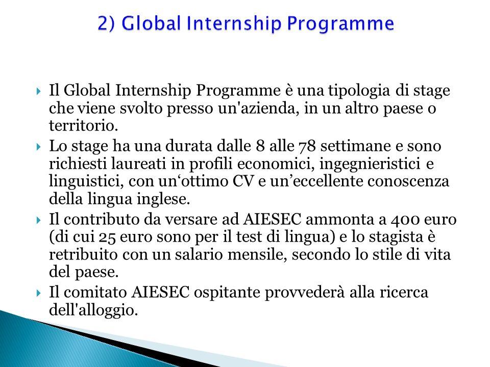 Il Global Internship Programme è una tipologia di stage che viene svolto presso un'azienda, in un altro paese o territorio. Lo stage ha una durata dal