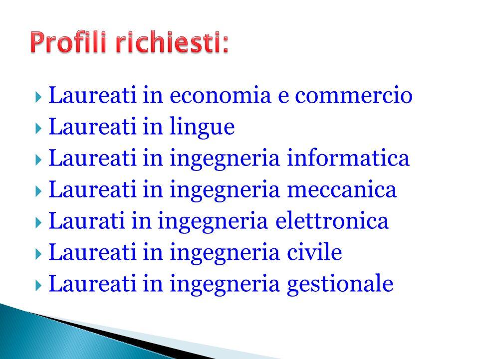 Laureati in economia e commercio Laureati in lingue Laureati in ingegneria informatica Laureati in ingegneria meccanica Laurati in ingegneria elettron