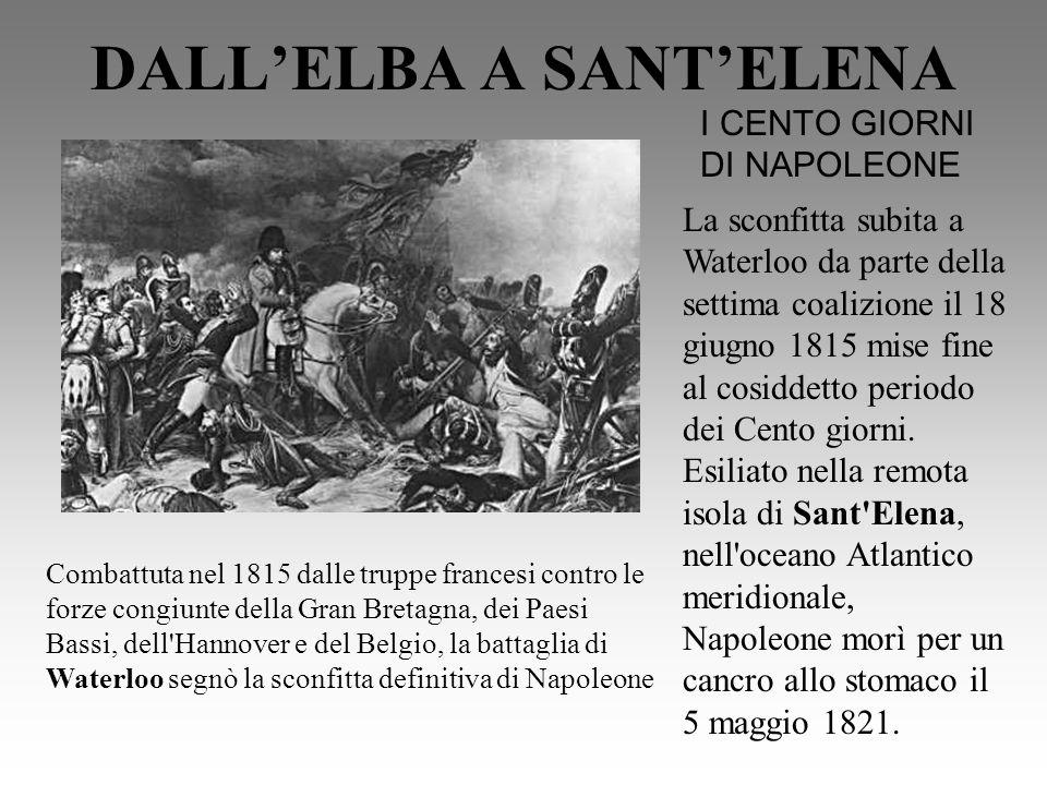 DALLELBA A SANTELENA Combattuta nel 1815 dalle truppe francesi contro le forze congiunte della Gran Bretagna, dei Paesi Bassi, dell'Hannover e del Bel