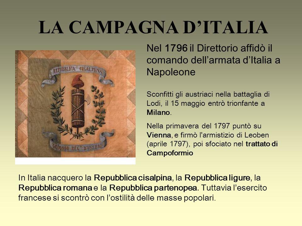 LA CAMPAGNA DITALIA Sconfitti gli austriaci nella battaglia di Lodi, il 15 maggio entrò trionfante a Milano.