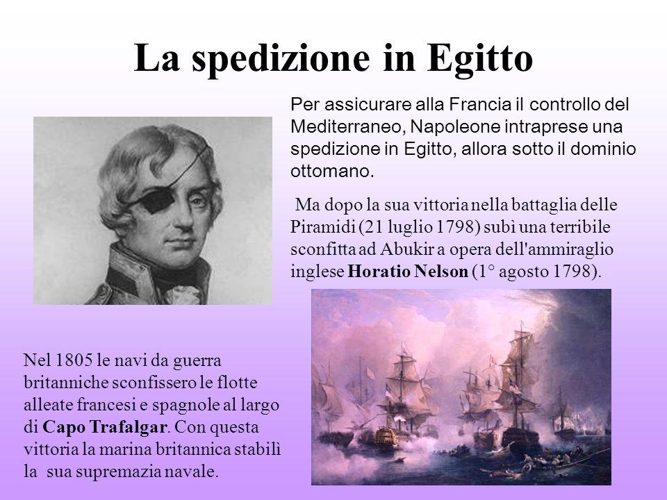 La spedizione in Egitto Per assicurare alla Francia il controllo del Mediterraneo, Napoleone intraprese una spedizione in Egitto, allora sotto il dominio ottomano.
