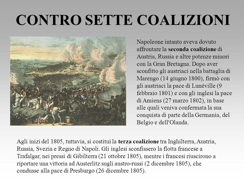 I CONFINI DELLIMPERO nel 1809 Napoleone batté la quinta e la sesta coalizione, occupò Vienna (12 maggio 1809), sconfisse gli austriaci a Wagram e procedette all annessione dell Illiria, ceduta dallAustria con la pace di Vienna.
