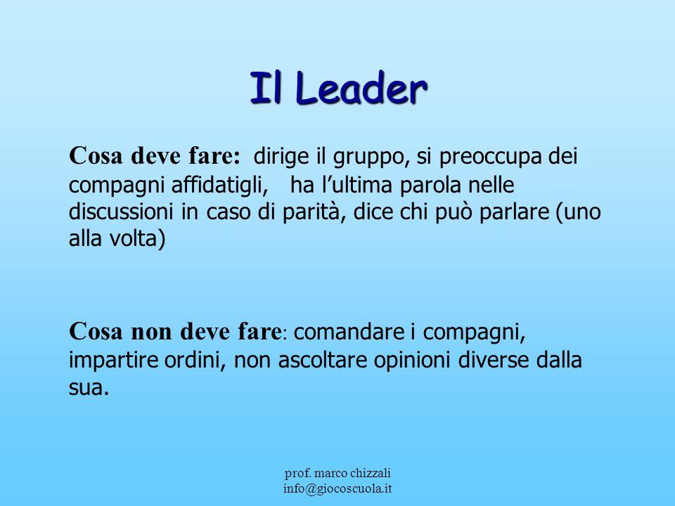 prof. marco chizzali info@giocoscuola.it Il Leader Cosa deve fare: dirige il gruppo, si preoccupa dei compagni affidatigli, ha lultima parola nelle di