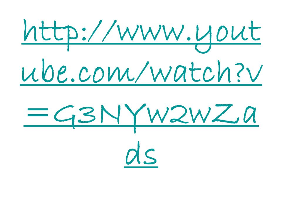 http://www.yout ube.com/watch?v =G3NYw2wZa ds