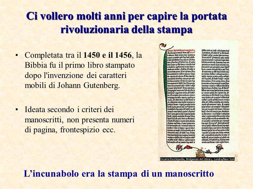Ci vollero molti anni per capire la portata rivoluzionaria della stampa Completata tra il 1450 e il 1456, la Bibbia fu il primo libro stampato dopo l'