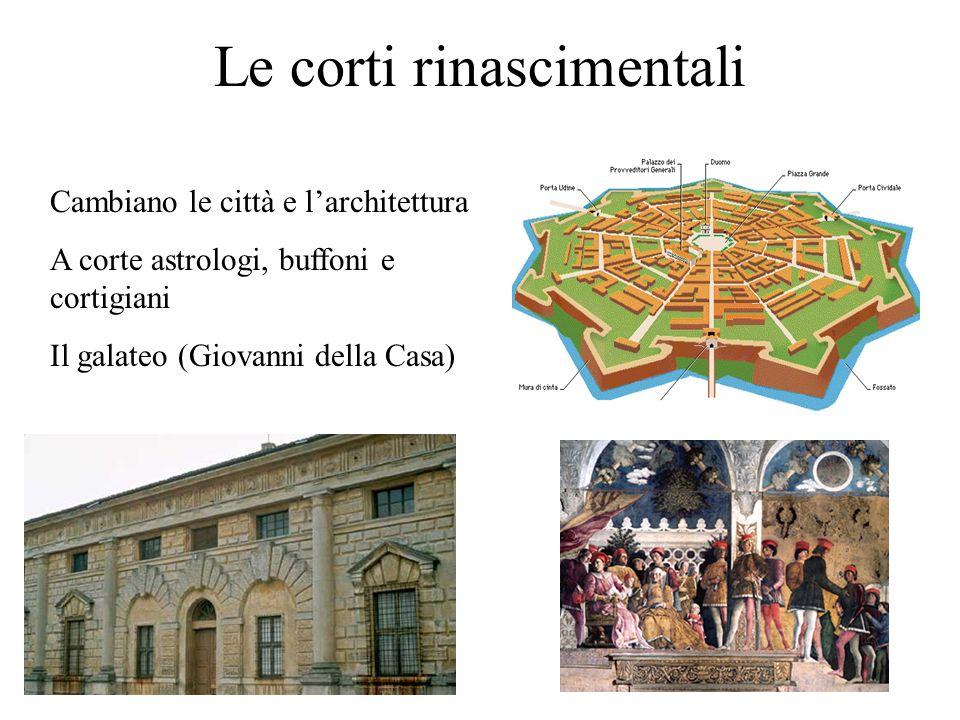 Le corti rinascimentali Cambiano le città e larchitettura A corte astrologi, buffoni e cortigiani Il galateo (Giovanni della Casa)