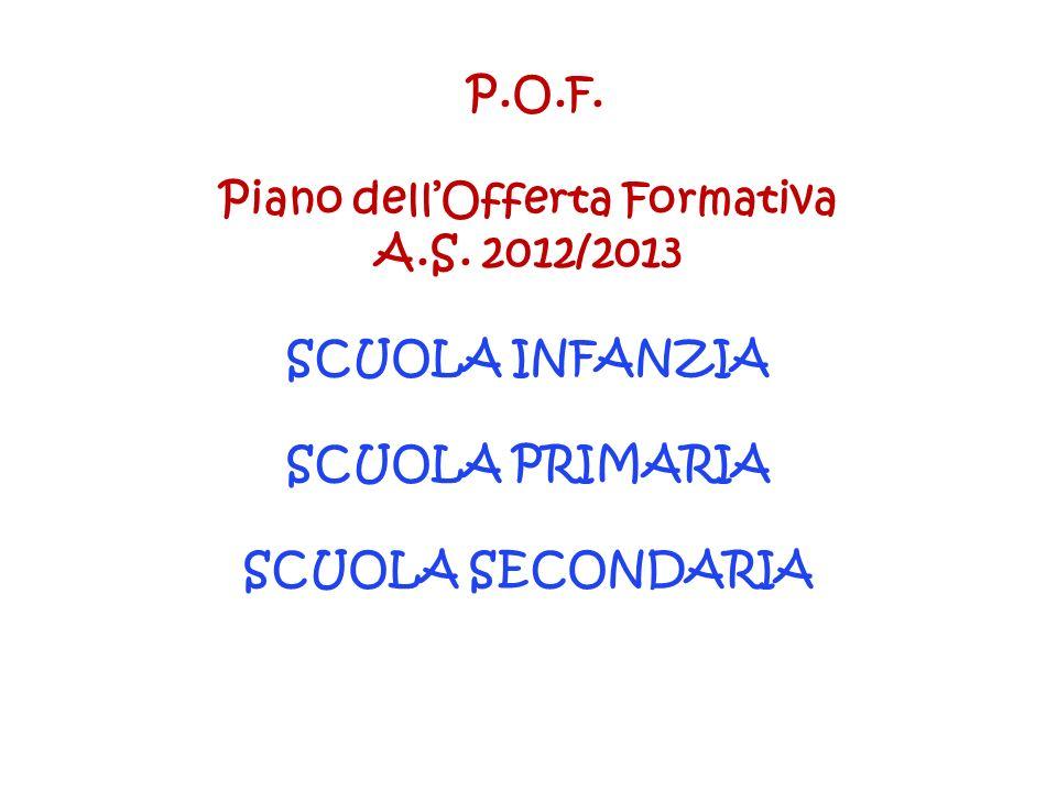 P.O.F. Piano dellOfferta Formativa A.S. 2012/2013 SCUOLA INFANZIA SCUOLA PRIMARIA SCUOLA SECONDARIA