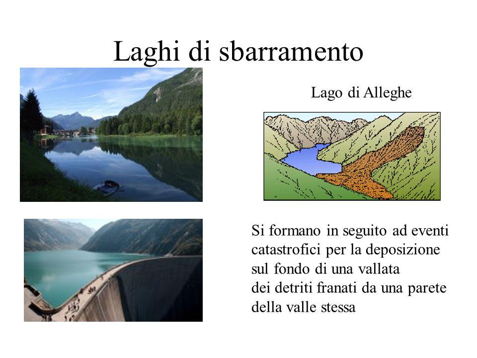 Laghi di sbarramento Lago di Alleghe Si formano in seguito ad eventi catastrofici per la deposizione sul fondo di una vallata dei detriti franati da u