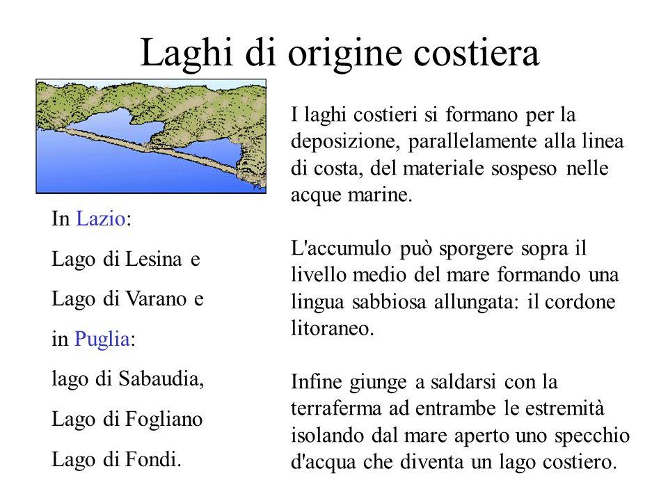 Laghi di origine costiera In Lazio: Lago di Lesina e Lago di Varano e in Puglia: lago di Sabaudia, Lago di Fogliano Lago di Fondi. I laghi costieri si