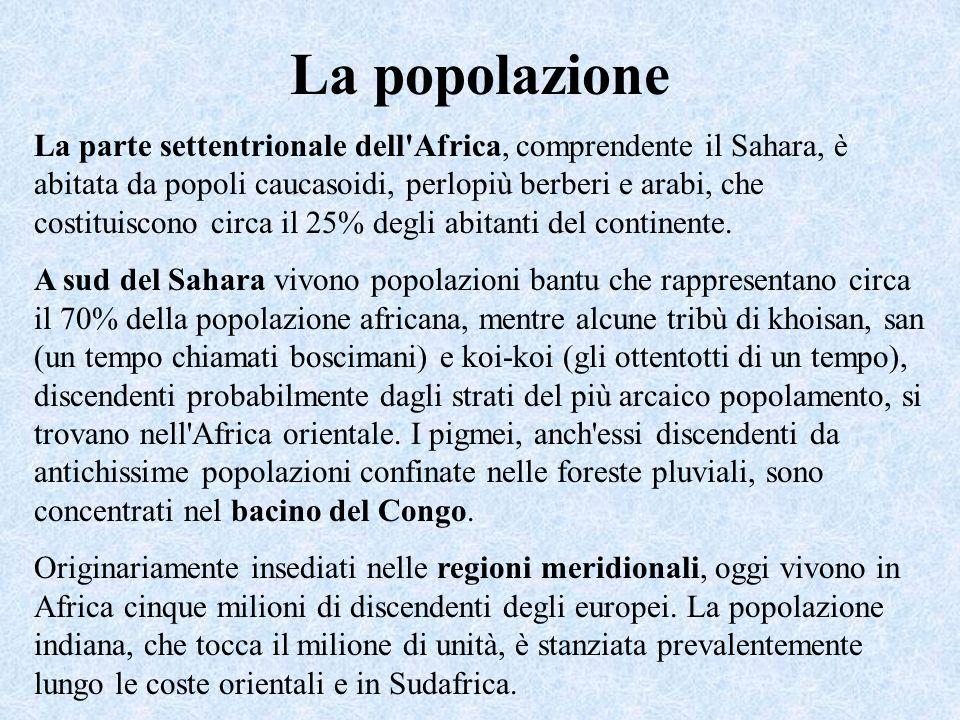 La popolazione La parte settentrionale dell Africa, comprendente il Sahara, è abitata da popoli caucasoidi, perlopiù berberi e arabi, che costituiscono circa il 25% degli abitanti del continente.
