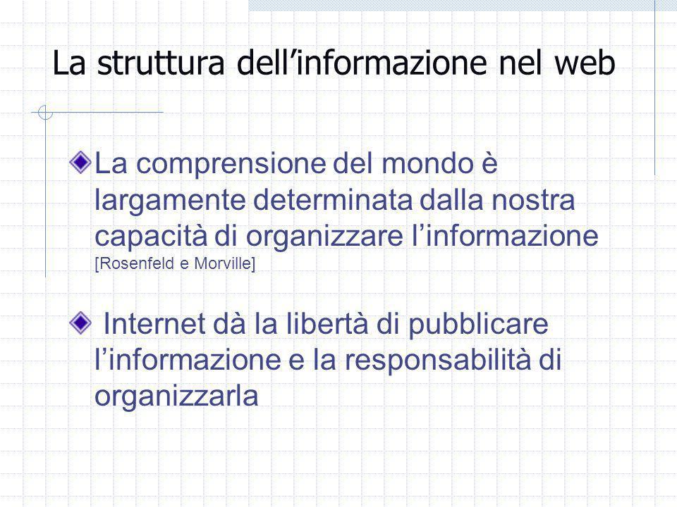 La struttura dellinformazione nel web La comprensione del mondo è largamente determinata dalla nostra capacità di organizzare linformazione [Rosenfeld e Morville] Internet dà la libertà di pubblicare linformazione e la responsabilità di organizzarla