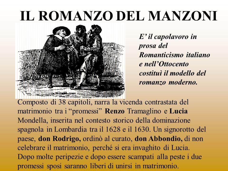 IL ROMANZO DEL MANZONI Composto di 38 capitoli, narra la vicenda contrastata del matrimonio tra i promessi Renzo Tramaglino e Lucia Mondella, inserita
