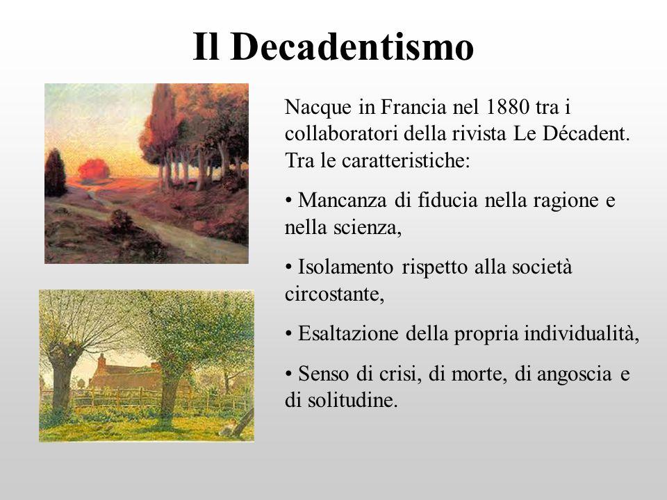 Il Decadentismo Nacque in Francia nel 1880 tra i collaboratori della rivista Le Décadent. Tra le caratteristiche: Mancanza di fiducia nella ragione e
