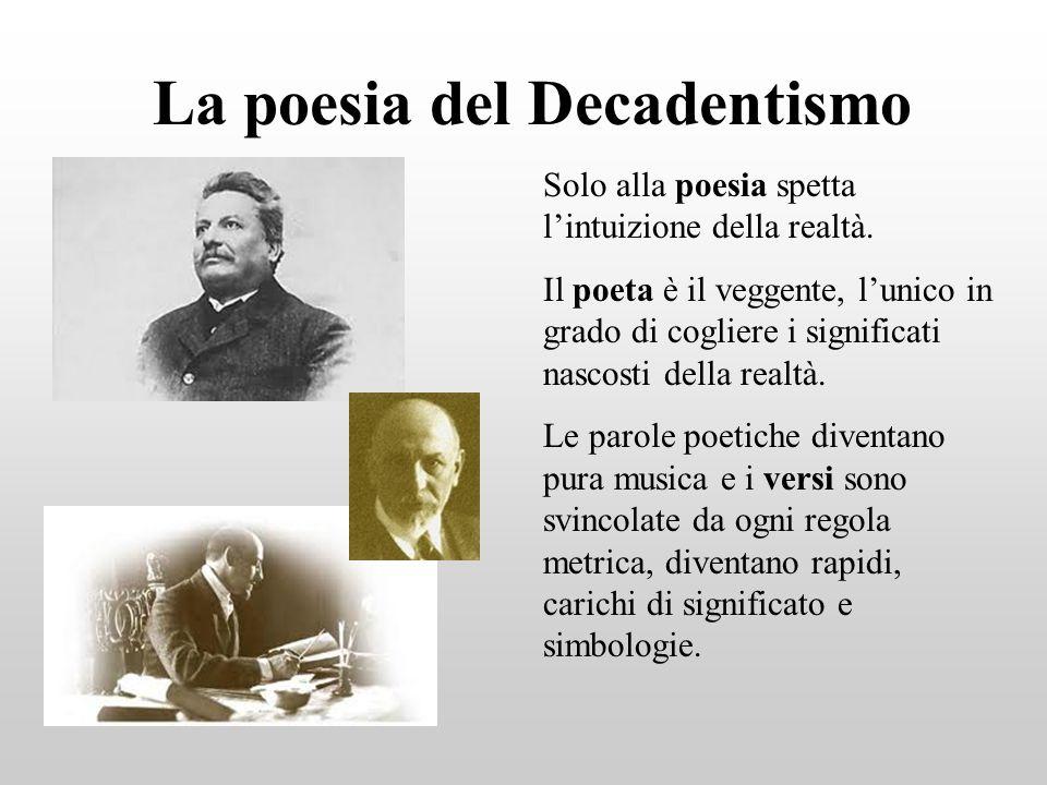 La poesia del Decadentismo Solo alla poesia spetta lintuizione della realtà. Il poeta è il veggente, lunico in grado di cogliere i significati nascost