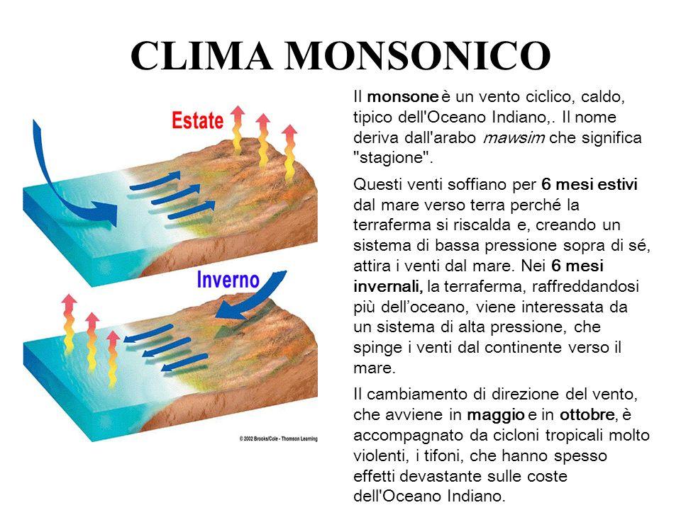 CLIMA MONSONICO Il monsone è un vento ciclico, caldo, tipico dell'Oceano Indiano,. Il nome deriva dall'arabo mawsim che significa