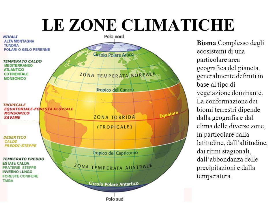 LE ZONE CLIMATICHE Bioma Complesso degli ecosistemi di una particolare area geografica del pianeta, generalmente definiti in base al tipo di vegetazio