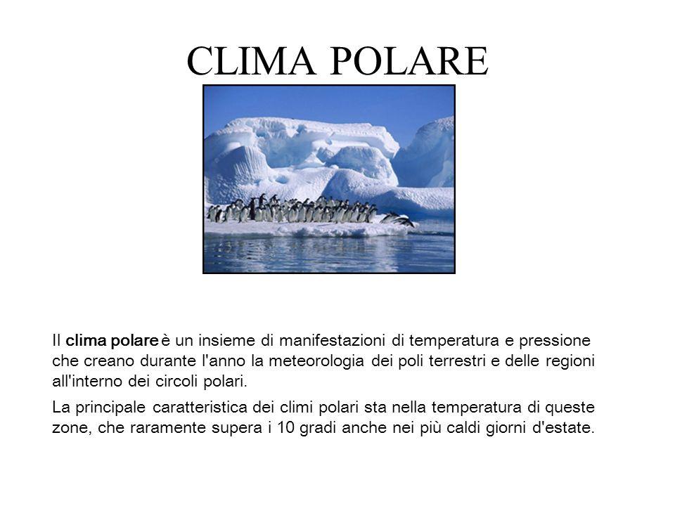 CLIMA POLARE Il clima polare è un insieme di manifestazioni di temperatura e pressione che creano durante l'anno la meteorologia dei poli terrestri e
