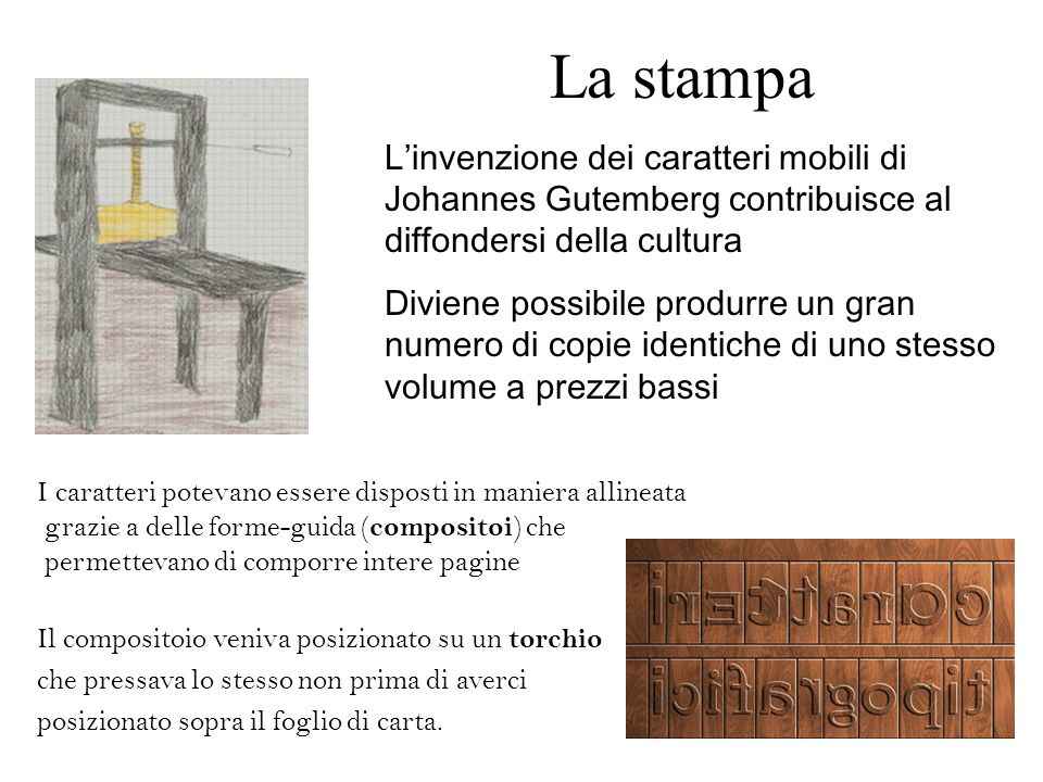La stampa Linvenzione dei caratteri mobili di Johannes Gutemberg contribuisce al diffondersi della cultura Diviene possibile produrre un gran numero d