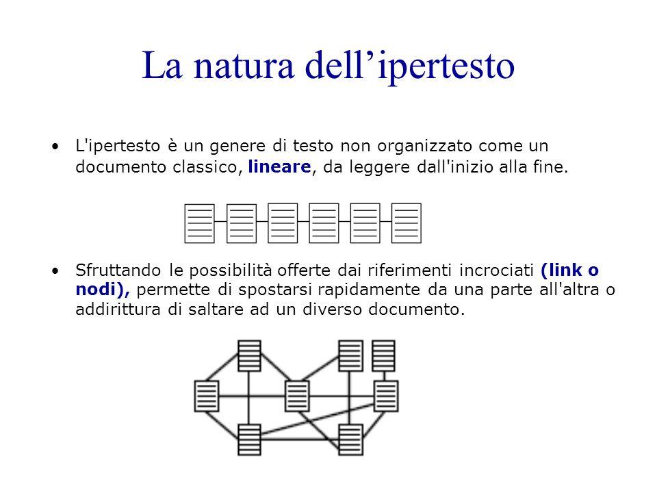 La natura dellipertesto L'ipertesto è un genere di testo non organizzato come un documento classico, lineare, da leggere dall'inizio alla fine. Sfrutt