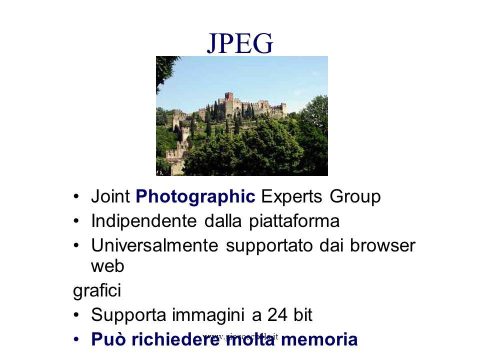 www.giocoscuola.it GIF Graphic Interchange Format aggiunge il supporto per la trasparenza e piccole animazioni Quando utilizzarlo: Limmagine è caratterizzata da tinte piatte o da una predominanza di esse Si desidera avere trasparenza su una porzione di immagine Piccole animazioni Quando non utilizzarlo Immagini fotografiche o con gradienti