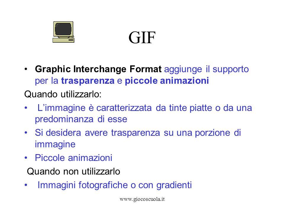 www.giocoscuola.it GIF Graphic Interchange Format aggiunge il supporto per la trasparenza e piccole animazioni Quando utilizzarlo: Limmagine è caratte