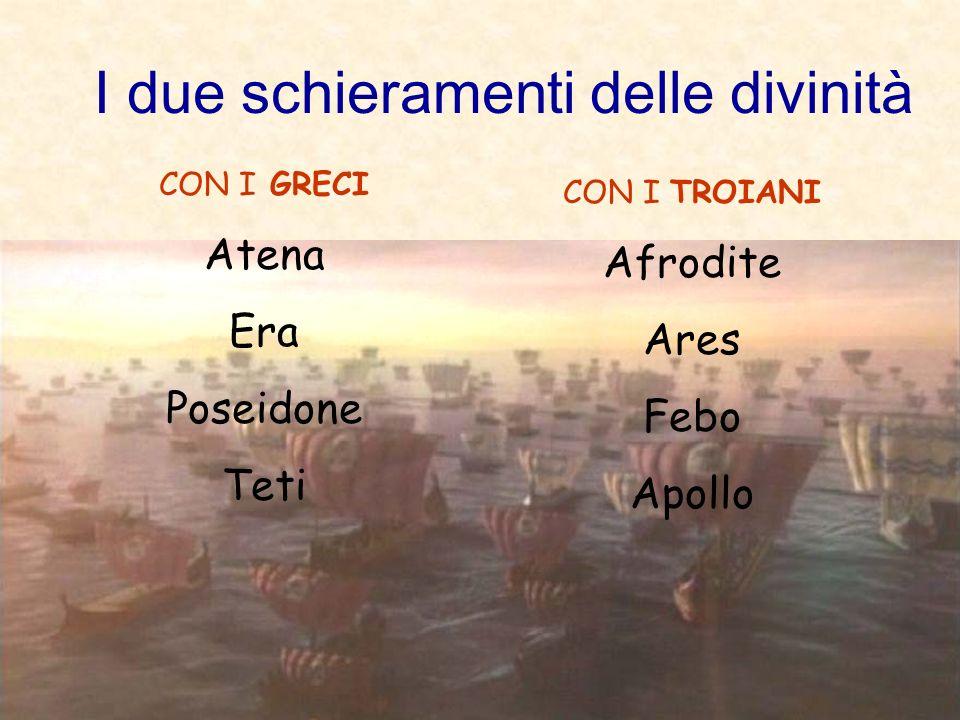 I due schieramenti delle divinità CON I GRECI Atena Era Poseidone Teti CON I TROIANI Afrodite Ares Febo Apollo