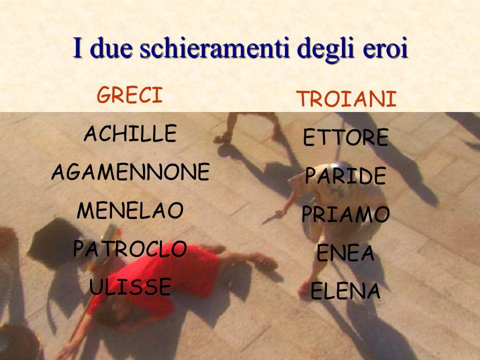 I due schieramenti degli eroi GRECI ACHILLE AGAMENNONE MENELAO PATROCLO ULISSE TROIANI ETTORE PARIDE PRIAMO ENEA ELENA