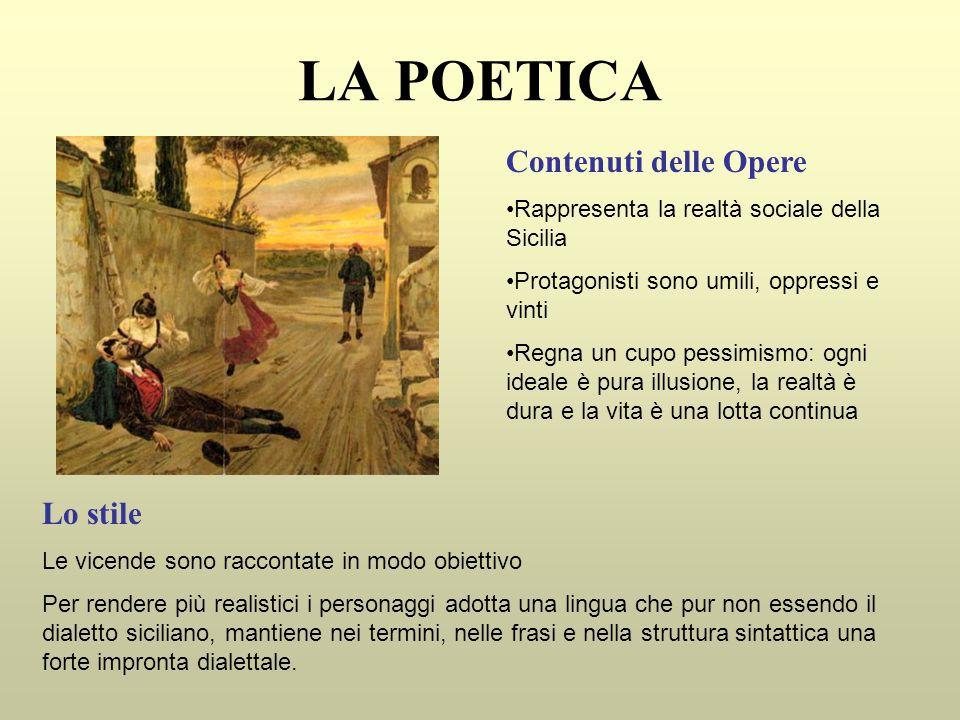 LA POETICA Contenuti delle Opere Rappresenta la realtà sociale della Sicilia Protagonisti sono umili, oppressi e vinti Regna un cupo pessimismo: ogni