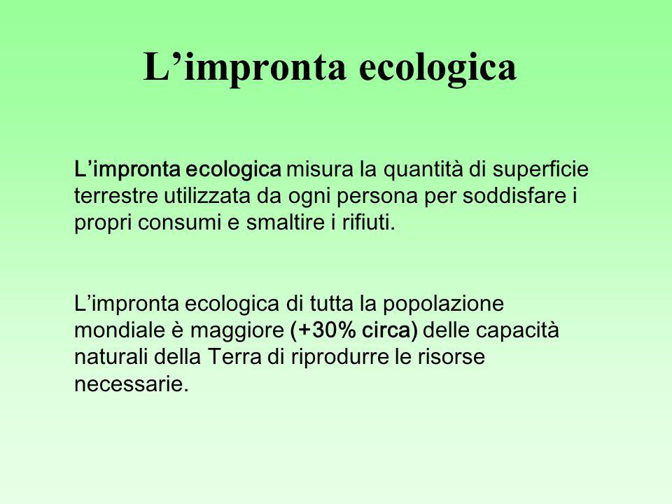 Limpronta ecologica Limpronta ecologica misura la quantità di superficie terrestre utilizzata da ogni persona per soddisfare i propri consumi e smaltire i rifiuti.