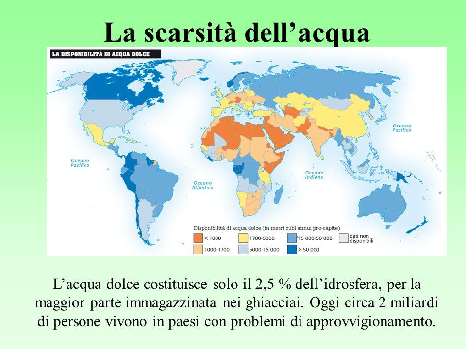 La scarsità dellacqua Lacqua dolce costituisce solo il 2,5 % dellidrosfera, per la maggior parte immagazzinata nei ghiacciai.