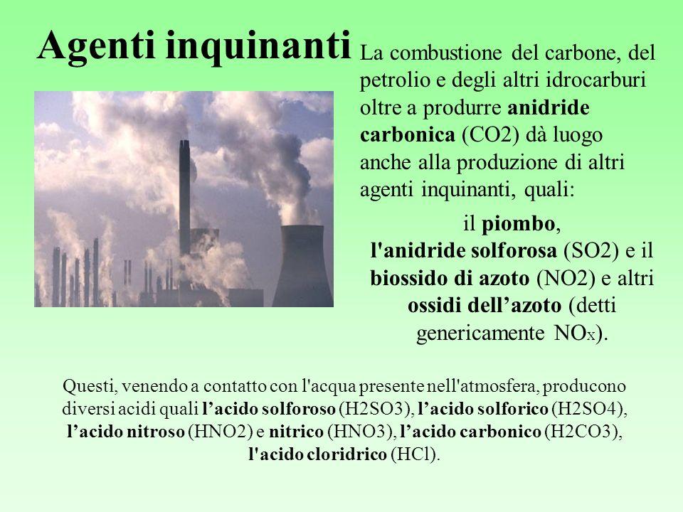 Agenti inquinanti La combustione del carbone, del petrolio e degli altri idrocarburi oltre a produrre anidride carbonica (CO2) dà luogo anche alla produzione di altri agenti inquinanti, quali: il piombo, l anidride solforosa (SO2) e il biossido di azoto (NO2) e altri ossidi dellazoto (detti genericamente NO X ).