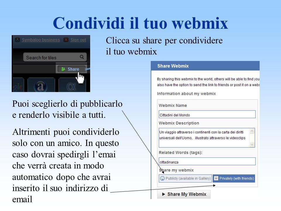 Condividi il tuo webmix Clicca su share per condividere il tuo webmix Puoi sceglierlo di pubblicarlo e renderlo visibile a tutti.