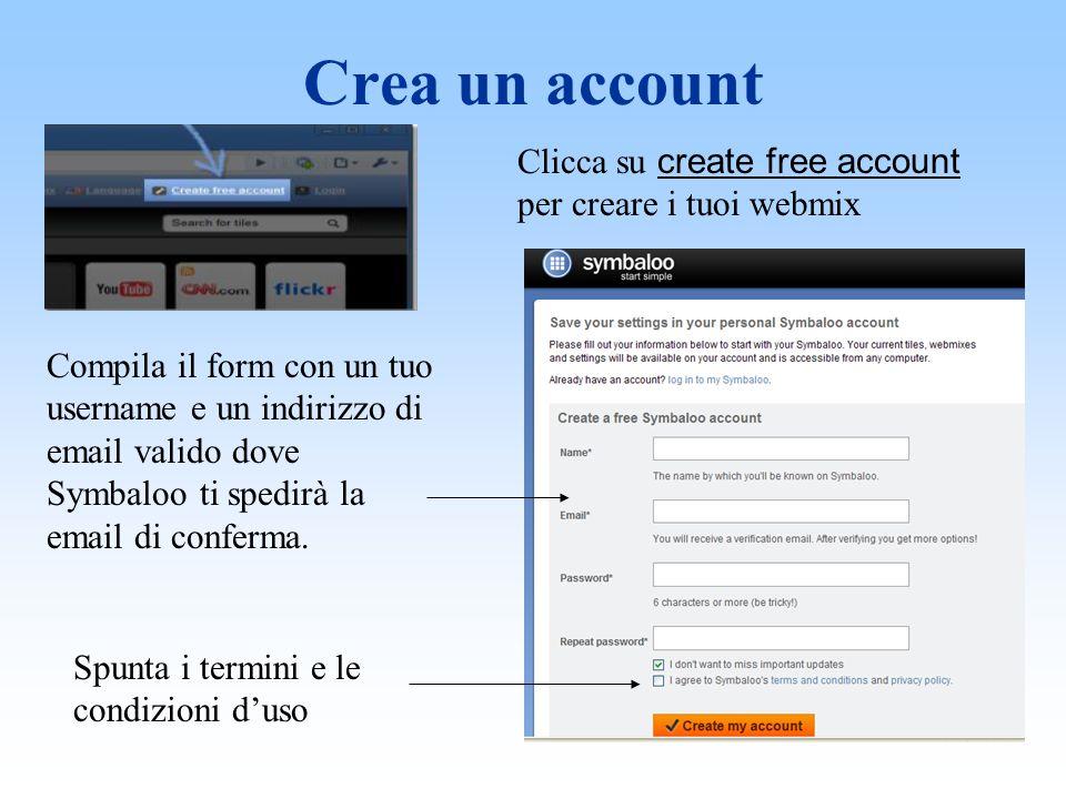 Crea un account Clicca su create free account per creare i tuoi webmix Compila il form con un tuo username e un indirizzo di email valido dove Symbaloo ti spedirà la email di conferma.