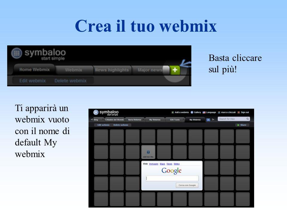 Modifica il tuo webmix Cambia il nome Cambia lo sfondo Per modificare clicca su Edit webmix